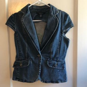 Denim short sleeve jean jacket with peacock detail
